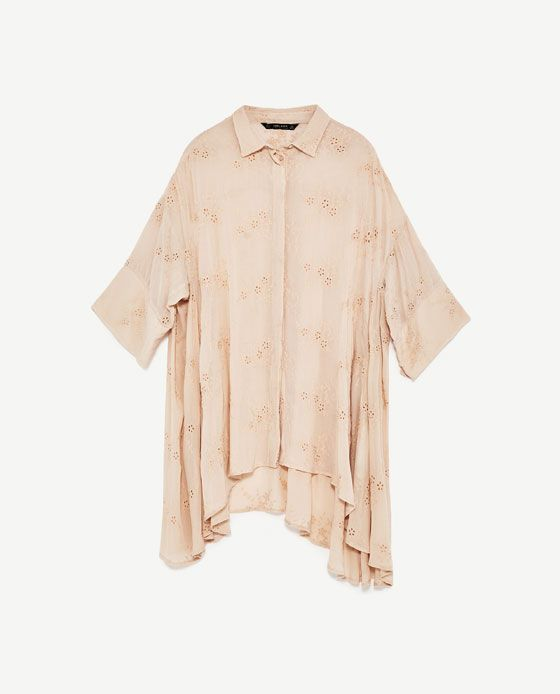 Image 8 of EMBROIDERED OVERSIZED BLOUSE from Zara