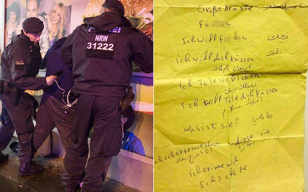 Europe in crisis over sex attacks by migrants amid calls for emergency EU meeting Political tensions over influx of migrants boil over as leaders from central and eastern states declare death of multicultural Europe and call for borders to be sealed (Left), Police arrest men around the main train station in Cologne. (Right), A note found by police on two suspects.