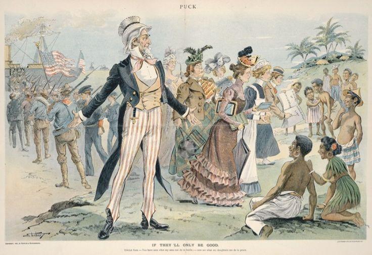 """""""If they'll only be good,"""" graphic uit 1900 door S.D. Erhart uit """"Puck"""": Amerikaanse koloniale weldoeners in de Filipijnen"""