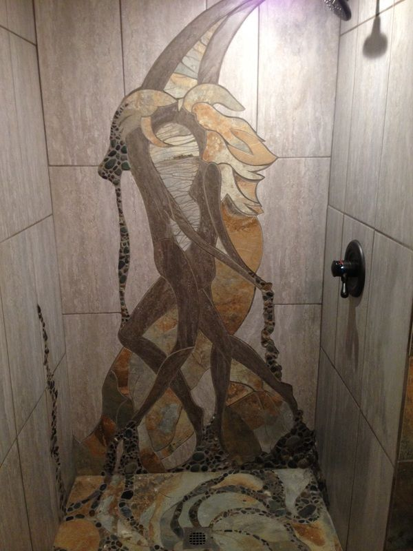 Passion Overflows - shower in tile and stone - by Stephen Cole