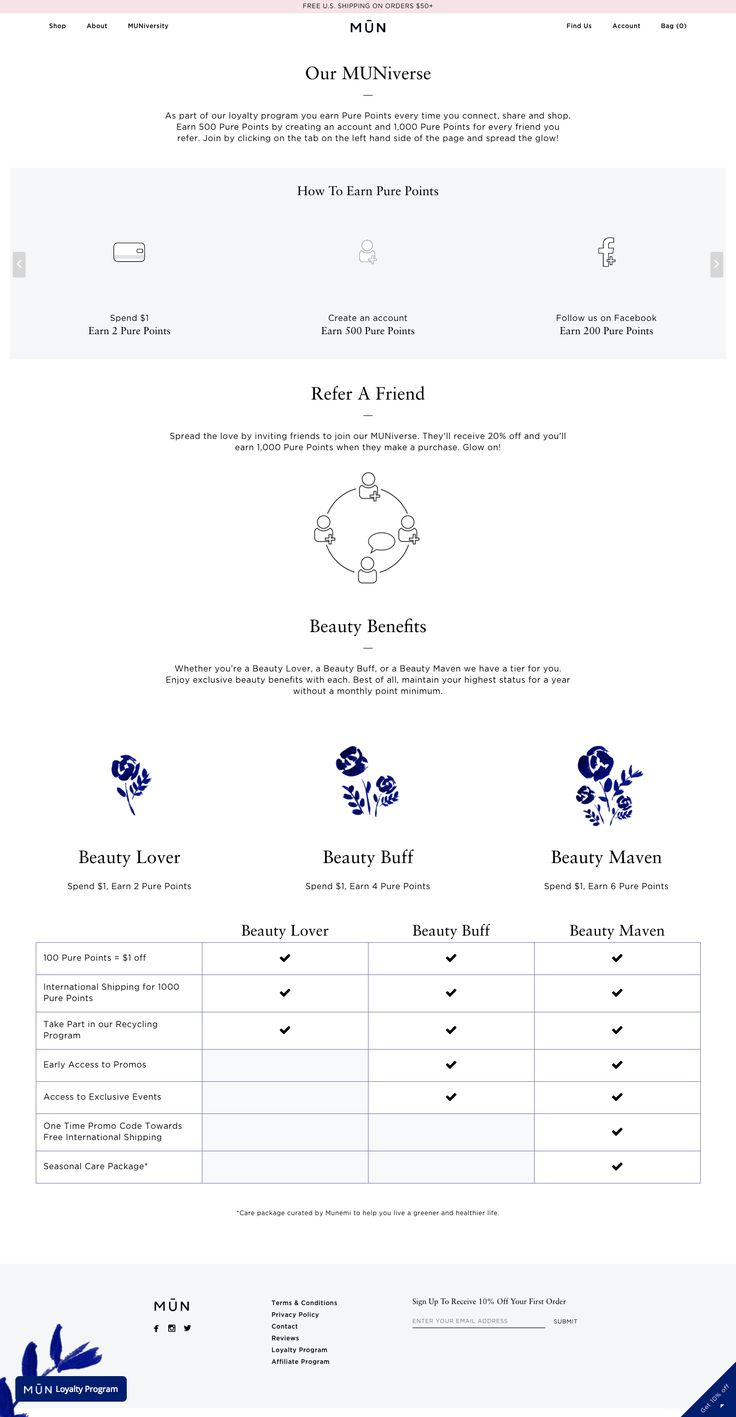With animated earning rules, dark blue accents, and a clear VIP table, MUN knows how to design a killer explainer page.