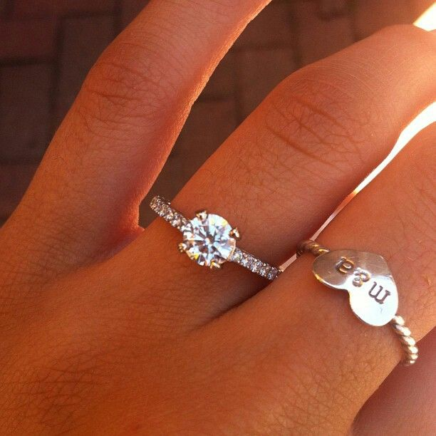 Promise ring with initials, and then the real deal! :D I love this! I would want @Demetrius Harris Harris Woods  to have a manly promise ring sense we will be together for a while before we get married.