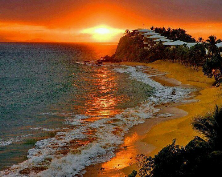 Antigua, carribean islands/ we can a walk on the beach during the sunset just like this : )I would love that muah : )