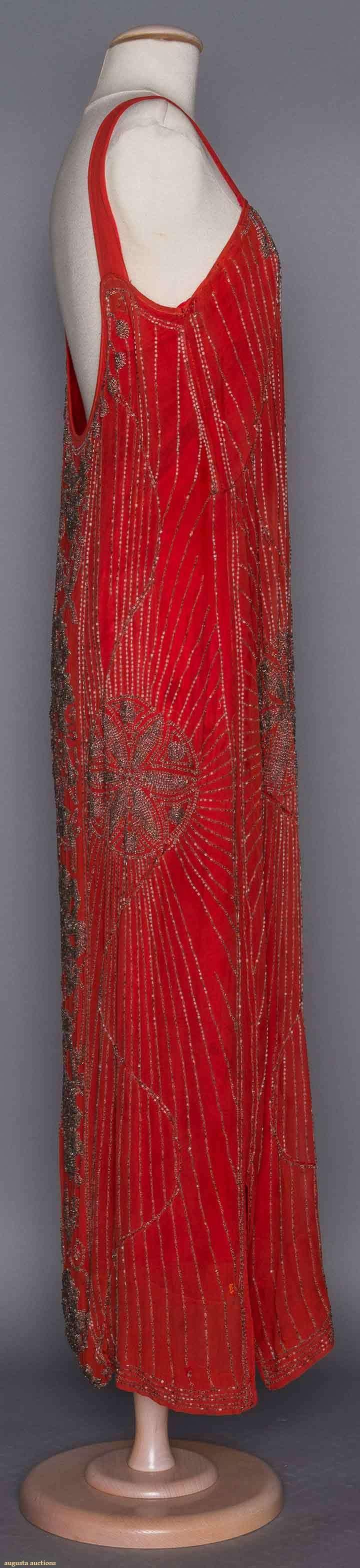c1920 Silk chiffon, silver beads form floral & star patterns, dress & wide shoulder straps have added silk under dress. Sideway