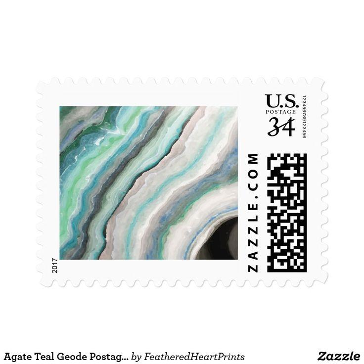 Agate Teal Geode Postage Stamp