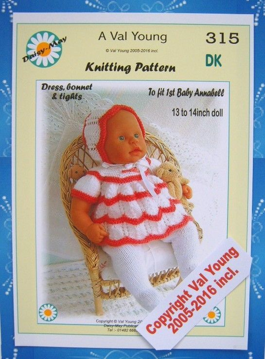 1 of 1: DOLLS KNITTING PATTERN 315 by VAL YOUNG for 1st Baby Annabell13-14Inch doll