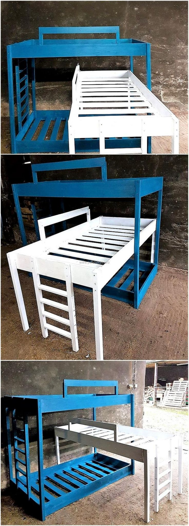 Wait if you are going to buy separate beds for your kids, you can create a single bed for them at home with the help of recycled wood pallets. You can see the idea of how you will be creating the stairs, so the kids can easily reach their bed.