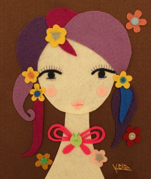 Handmade Felt Art Young Girl Portrait Butterfly Tie Wall by Gaoui, $50.00