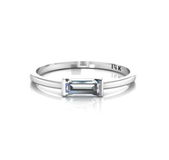 14k White Gold Tiny Sideways Horizontal Crystal Baguette Ring - ANTOANETTA