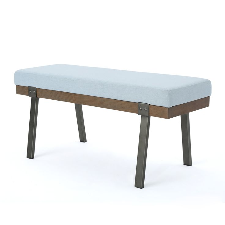 Izan Modern Rectangle Fabric Ottoman Bench by Christopher Knight Home (Light Sky), Blue (Iron)