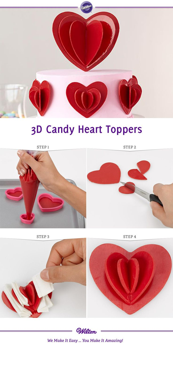 DIY 3D Candy Melt Heart Toppers