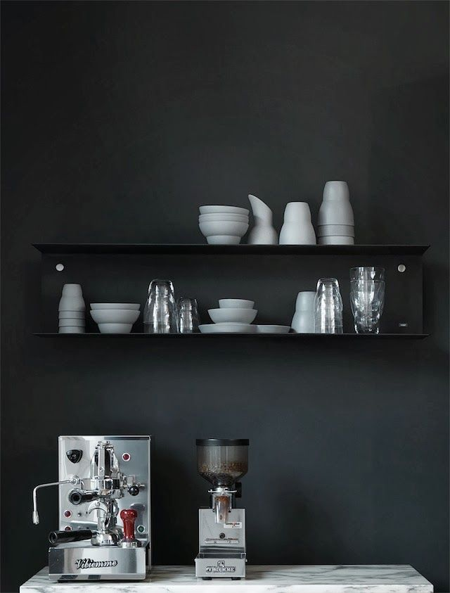 black wall and #vipp shelving