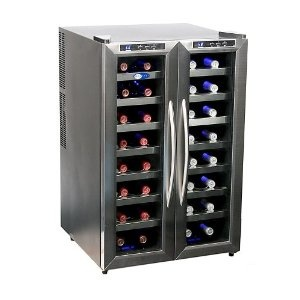 whynter wc 321dd 32 bottle dual temperature zone wine cooler stainless steel trimmed glass door with black cabinet