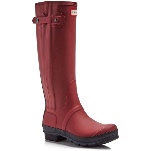 Hunter Original Slim Zip Two-Tone Rain Boots ($146) ❤ liked on Polyvore featuring shoes, boots, lava red, slip on rain boots, red knee high boots, red boots, wellies boots and rain boots