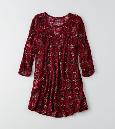 AEO Keyhole Swing Dress, Red | American Eagle Outfitters