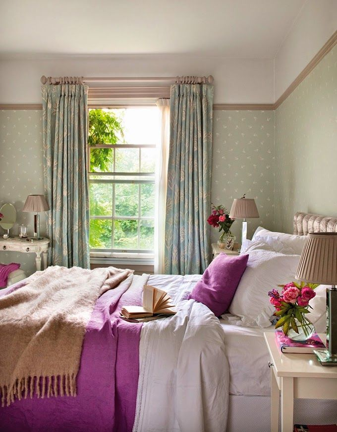 Charming English Country Cottage Bedroom with Lots of Color! Excellent post with lots of Cottage Decor Tips !