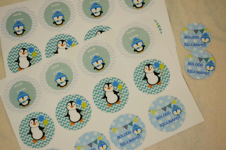 Pinguin Party Themed Cupcake Toppers