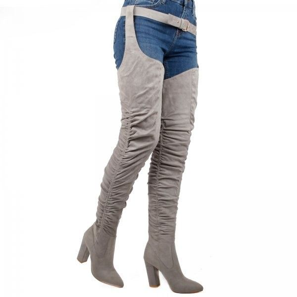 Lisa Belted Thigh Boot In Grey Faux Suede ($63) ❤ liked on Polyvore featuring shoes, boots, heeled boots, block heel boots, grey boots, pointed toe boots and faux suede thigh high boots
