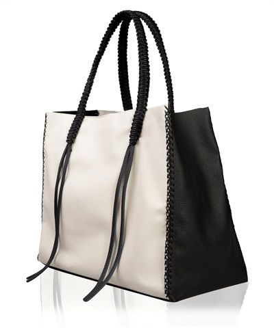 Ivory and Black Lattice Tote Bag < TOTE BAGS | AESTHET.COM