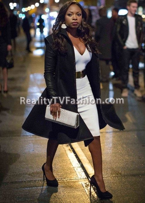 "Tasha St. Patrick's White V-Neck Sheath Dress & Purple One Sleeve Dress on ""Power"""