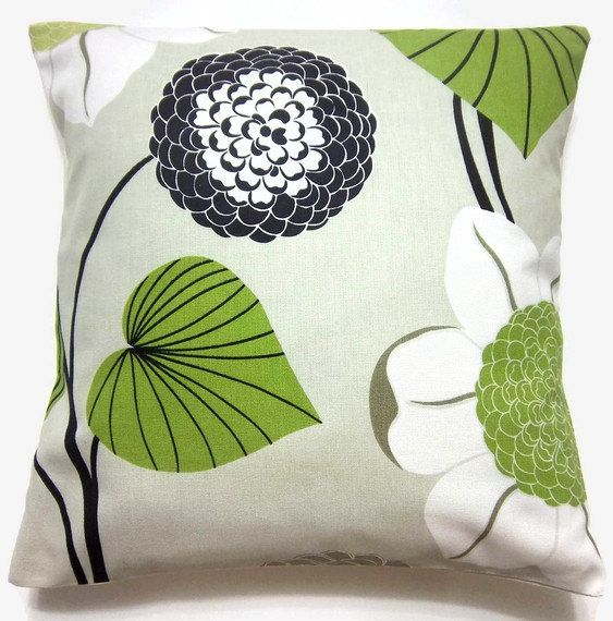 TWO Black White Lime Green Taupe Gray Decorative Pillow Covers Handmade 16  Inch Toss Throw Accent Part 56