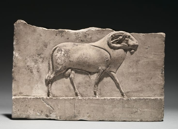 Votive Relief of a Ram Deity, 305-30 BC Egypt, Ptolemaic Dynasty limestone, Overall - h:13.50 w:20.60 d:2.50 cm (h:5 5/16 w:8 1/16 d:15/16 inches).