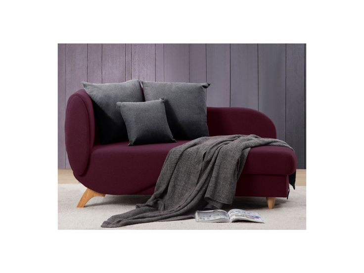 Recamiere Schlafsofa Longchair Stoff Nyx - Pflaume
