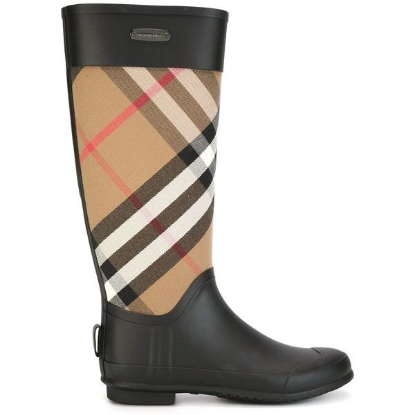 Burberry Checked Panel Rain Boots ($321) ❤ liked on Polyvore featuring shoes, boots, black, wellington boots, checkered shoes, rubber boots, burberry and burberry boots