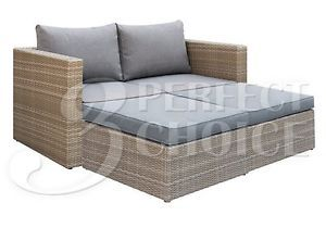 Outdoor Patio Garden Tan Wicker Furniture Lounger Loveseat w/ Ottoman Cushion  | eBay