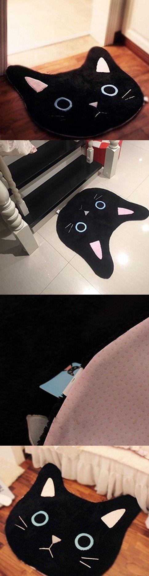 Wolala Home Cute Cartoon Dream Black Cats Pattern Area Rug Simple Cozy Non-slip Toilet Mat Doormat (2'0x2'0, black)