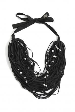 Maria Calderara-black laces and jewels necklace-collana di lacci neri e bijoux