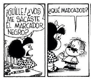 Mafalda- marcador negro