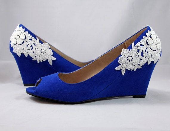 Royal Blue Wedges   Wedding Wedge Shoes  Cobalt Blue Wedges   Blue Suede  Shoes With