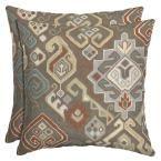 Hampton Bay Southwestern Saddle Square Outdoor Throw Pillow (2-Pack), Geometric