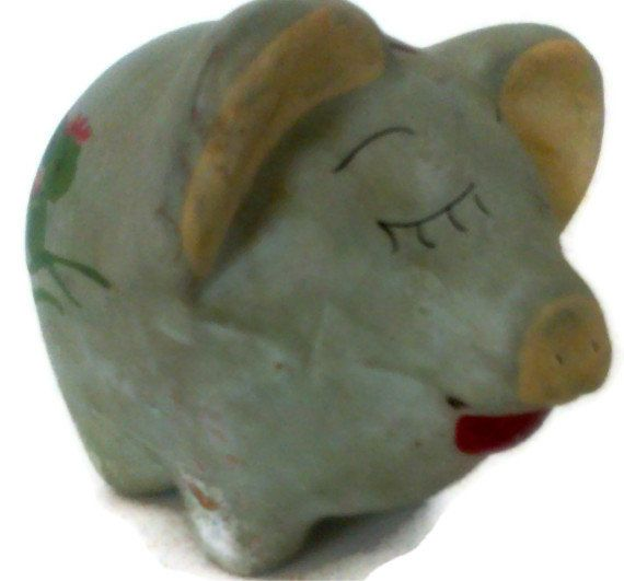 Vintage Pottery Piggy Bank Clay Piggy Bank by colonialcrafts