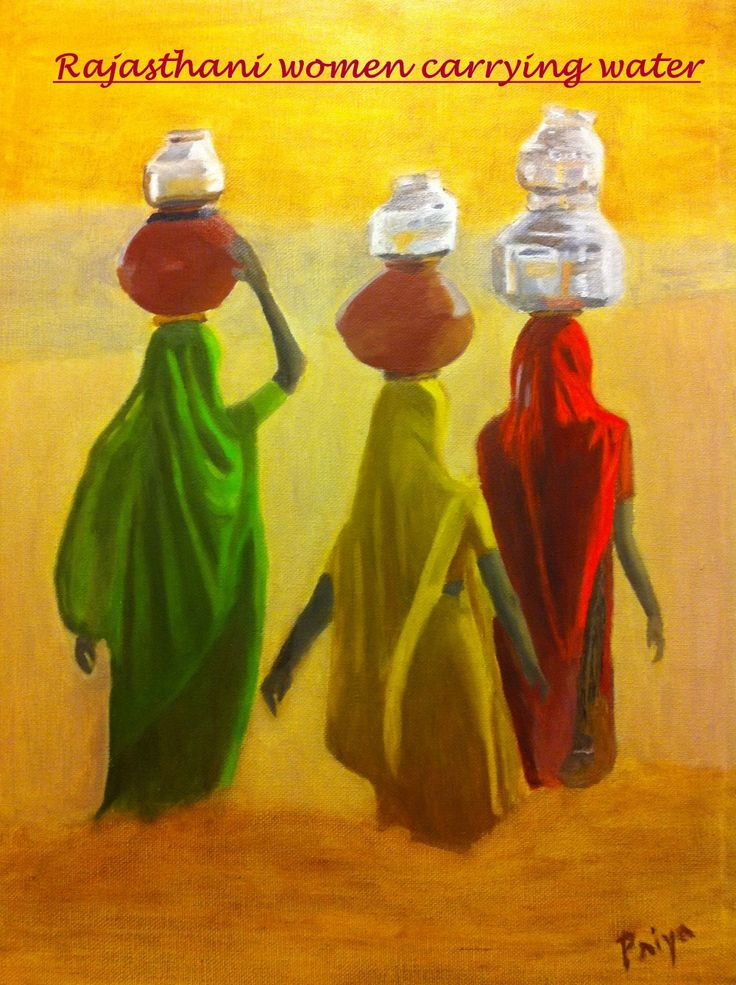Beautiful painting of Rajasthani women carrying water in the desert area