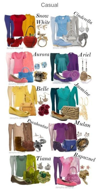 Disney princess inspired outfits - some of these are quite cute.