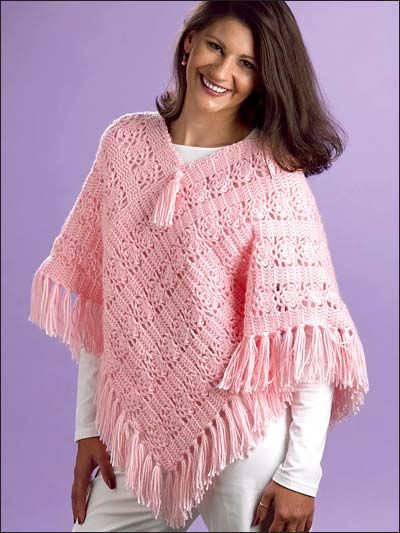 Lacy Fans Poncho - I would leave off the fringe, but these are really comfortable to wear in the fall when you just need a little something.
