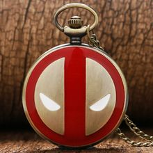 Free Shipping Deadpool Design Pocket Watch Red&Black Case White Dia Quartz Fob Watch Gift For Animation Fans/Christmas/Birthday