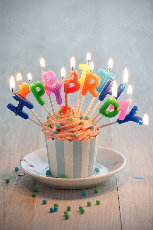 Burning Happy Birthday Candles sticked into muffin