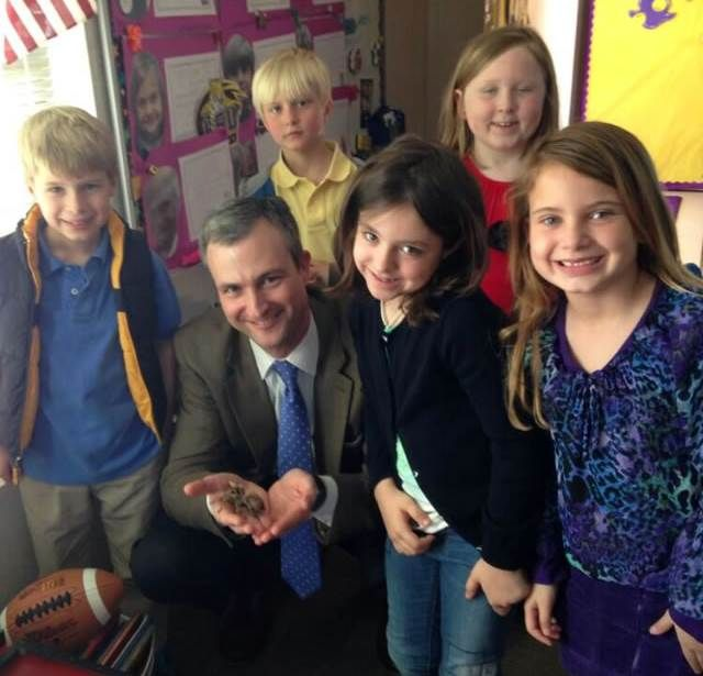 "There is a lot going on at Darlington-one of the best boarding schools! Mrs. Rachel Harrison's first-grade class, known as the Harrison's Heroes, presented ""A Hero's Guide for the Headmaster"" to new Head of School Brent Bell on a recent visit to the class. Mr. Bell also had fun getting to know classroom tarantula, John David! Find out more on this independent boarding school: http://www.darlingtonschool.org/"