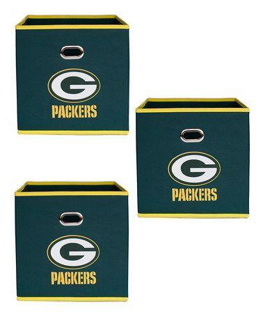 Look at this #zulilyfind! Green Bay Packers Fabric Storage Bin - Set of Three #zulilyfinds