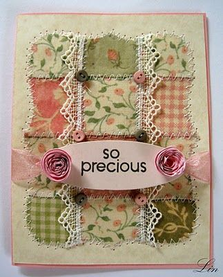 Beautiful stitched Baby quilt card