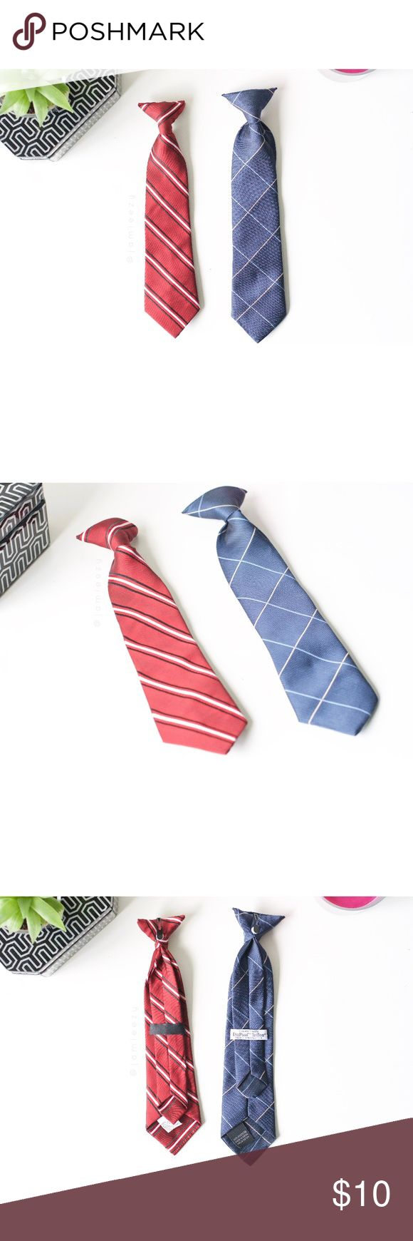 Set of 2 Clip-On Ties Set of 2 clip-on ties. Red = 10.5-inches long, Blue = 11-inches long. Both are in very lightly used condition--no flaws. Price is firm. No trades. Bundle for discount. Accessories Ties