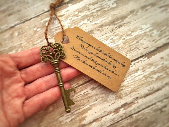 ** Bottle Openers in a Skeleton Key Shape ** ** INCLUDING SPECIAL POEM TAGS AND STRINGS **  The perfect wedding favor for your guests. A sweet thank you poem, attached to an antique style skeleton key bottle opener. The poem reads:  When you open a bottle with this antique key, we hope youll remember this day. It means so much that youre here with us - more than words could ever say.  The tag is blank on the reverse side. [Sorry, no personalization available]  The twine (included) loops…