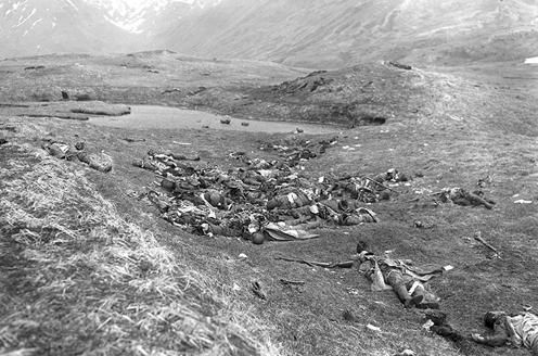 Corpses of Japanese soldiers after an unsuccessful banzai charge in the Battle of Attu, May 29, 1943.