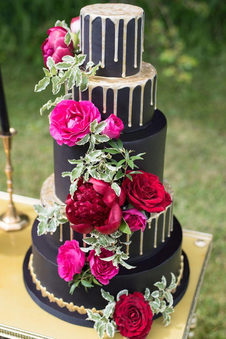Wedding cake, berry toned black wedding cake photo by Verveine Studios