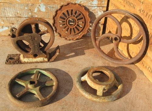 Antique Wheels And Gears : Vintage industrial cast iron pulley channon steampunk