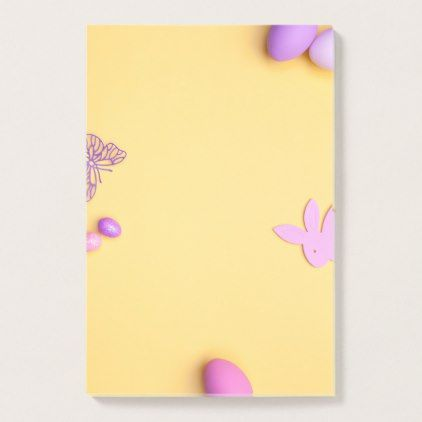 Easter Background. Copy Space. Top View Post-it Notes - spring gifts beautiful diy spring time new year