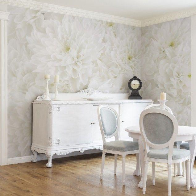 Selbstklebende Blumentapete - Fototapete Dahlien Blumenmeer weiß